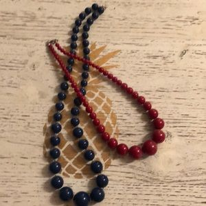 Set of two navy blue red bead necklaces